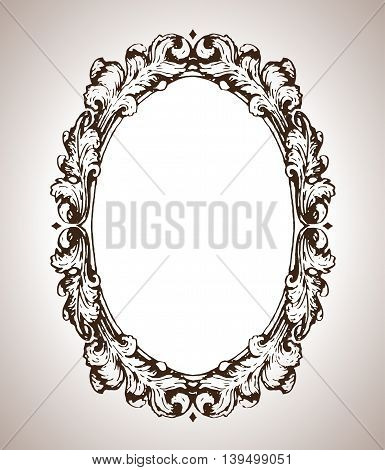 Vector calligraphic engraving frame in antique style illustration