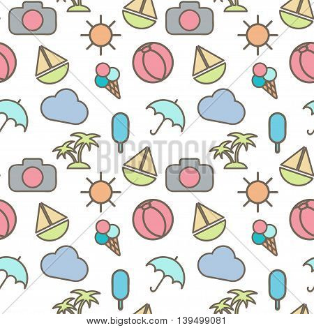 Seamless Pattern  In Stylish Colors Of Traveling, Tourism And Vacation Theme. Vector Illustration