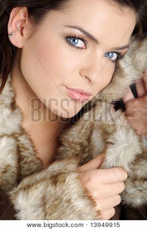 Portrait of a sexy woman wearing winter coat