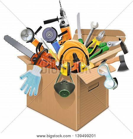 Vector Carton Box with Tools isolated on white background