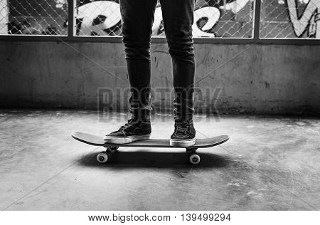 Skateboard Young Youth Teenager Action Concept