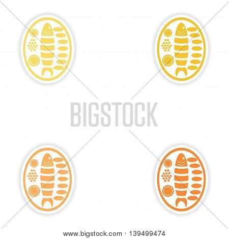 Set of paper stickers on white background   fish plate