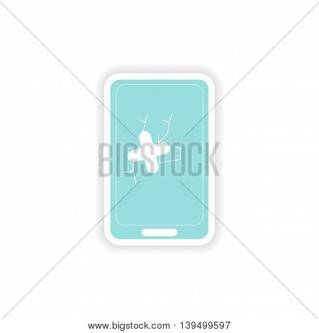 paper sticker on white background  mobile phone broken