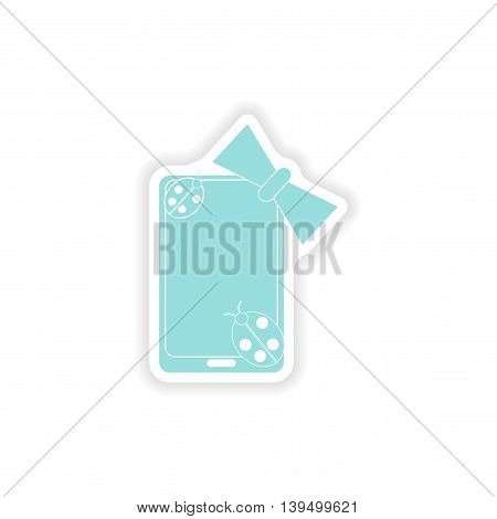 paper sticker on white background  mobile phone bow