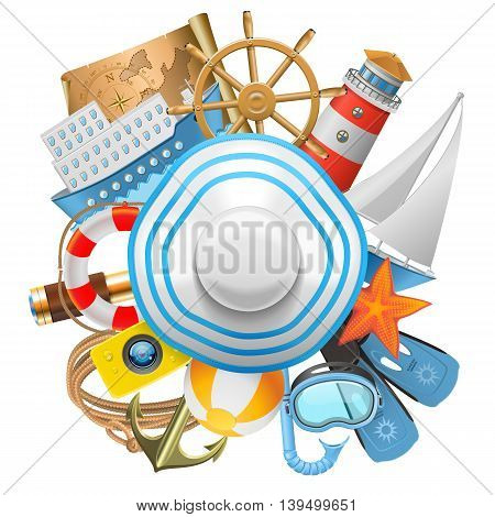 Vector Cruise Concept with Hat isolated on white background