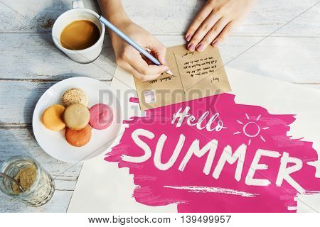 Writing Postcard Summer Letter Concept