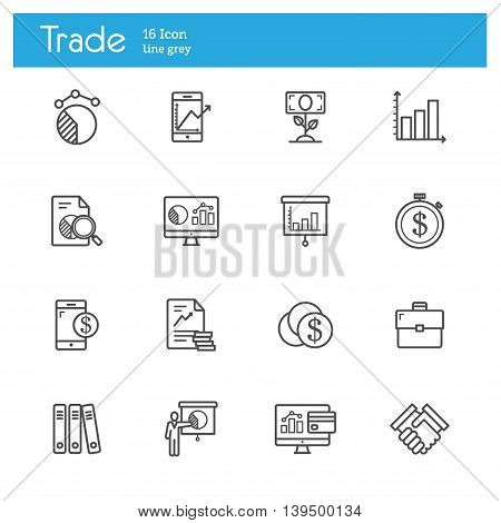 Trade line icons Stock Exchange icon line