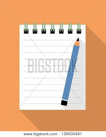 Notebook And Blue Pencil. Flat Design Vector Illustration Of A Notebook And A Pencil As Background. Global Colors Used.