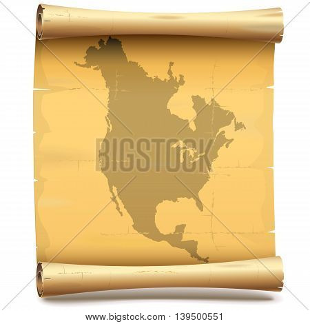 Vector Paper Scroll with North America isolated on white background