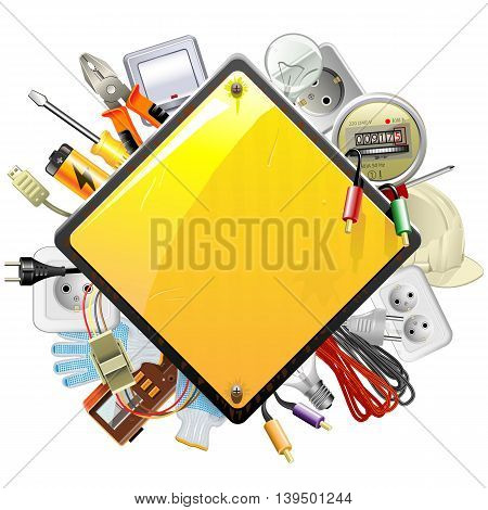 Vector Sign with Electric Accessories isolated on white background
