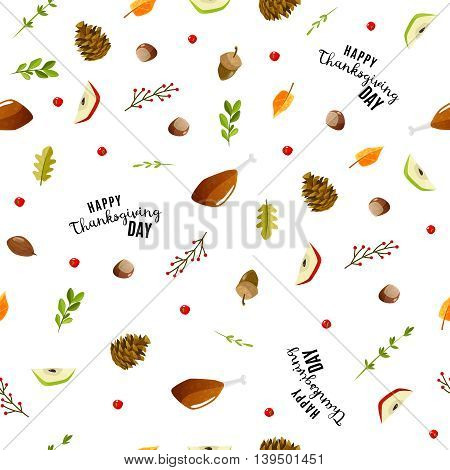 Colorful cartoon seamless pattern for thanksgiving day. Happy thanksgiving pattern. Vector illustration