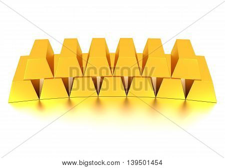 Gold Bullion and Gold Coin 3d rendering