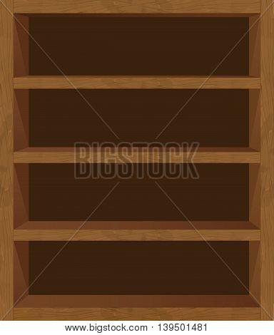 An empty wooden bookshelf template texture vector blank