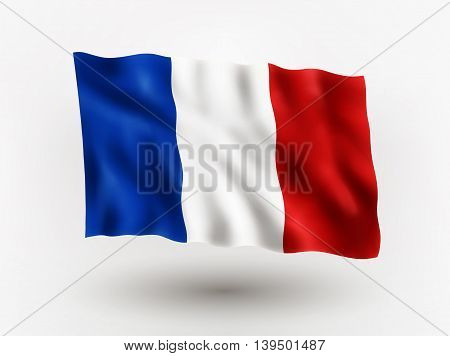 Illustration of waving flag of France isolated flag icon EPS 10 contains transparency.