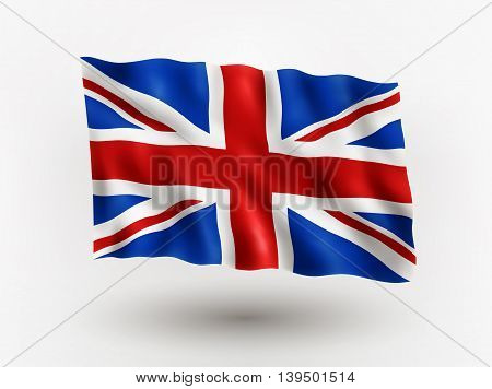 Illustration of waving flag of Great Britain isolated flag icon EPS 10 contains transparency.