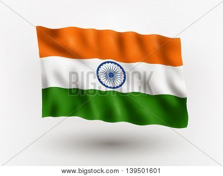 Illustration of waving flag of India isolated flag icon EPS 10 contains transparency.
