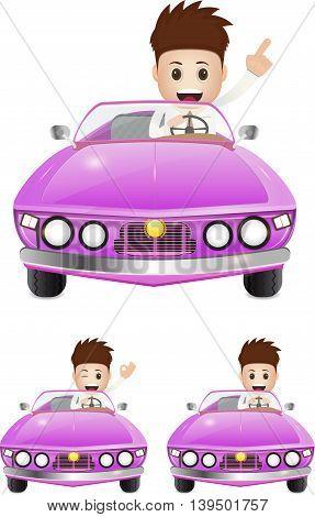 collection set happy businessman driving convertable sport car