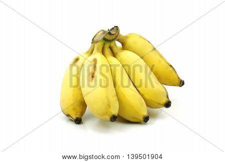 Yellow Asian banana on isolate white background. Pisang Awak banana or Thai name is Kluai Nam Wa.
