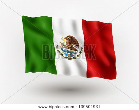 Illustration of waving flag of Mexico isolated flag icon EPS 10 contains transparency.