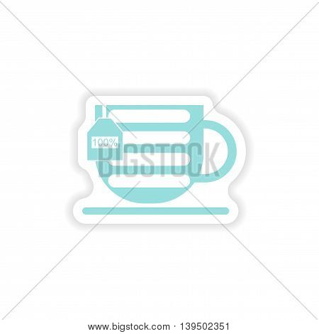 paper sticker on white background   mobile cup