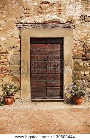 Close-up Image of Wooden Ancient Italian Door