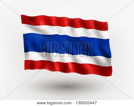 Illustration of waving flag of Thailand isolated flag icon EPS 10 contains transparency.