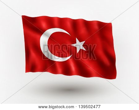 Illustration of waving flag of Turkey isolated flag icon EPS 10 contains transparency.