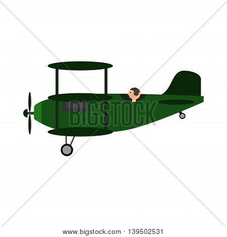 Green military vintage retro triplane toy with pilot. Isolated vector illustration.