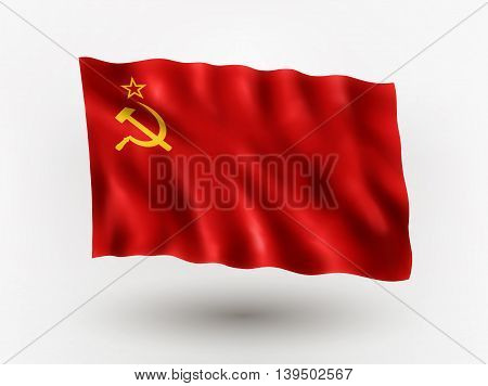 Illustration of waving flag of Union Socialist Soviet Republic isolated flag icon EPS 10 contains transparency.