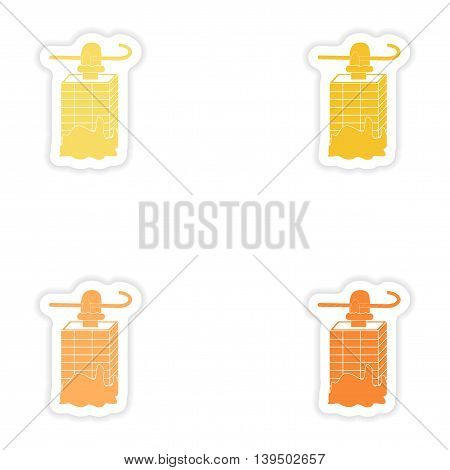 Set of paper stickers on white background  Santa in chimney