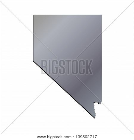 3D Nevada State USA Aluminium outline map