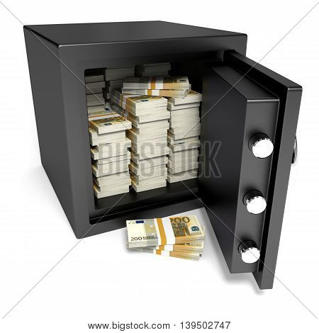 Safe on white background and money. 3D illustration.