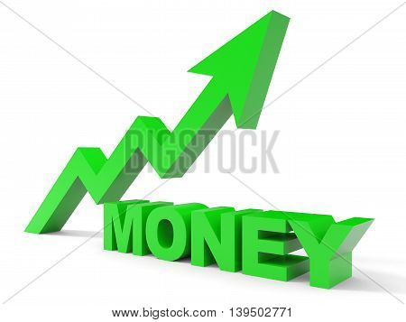 Graph up money arrow on white background. 3D illustration.
