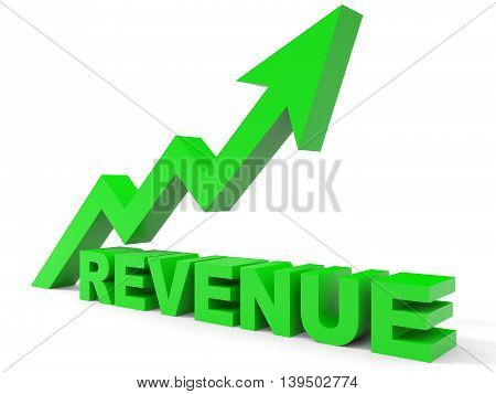 Graph up revenue arrow on white background. 3D illustration.