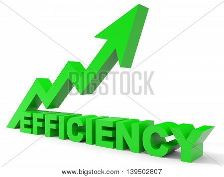 Graph up efficiency arrow on white background. 3D illustration.