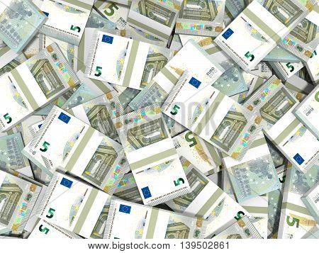 A lot of money. Five euros. 3D illustration.