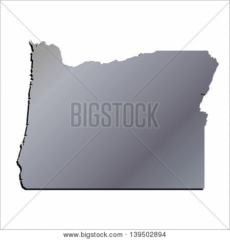 3D Oregon State Aluminium outline map with shadow