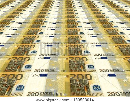 Euro Background. Two Hundred Euros.