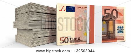 Stacks Of Money. Fifty Euros.