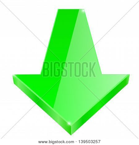 Glass shiny Green arrow. Vector illustration isolated on white background