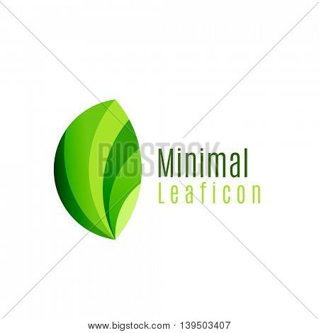 Green eco leaf icon, created with circle shapes. Ecology or environmental concept. Geometric minimal nature branding logo idea.