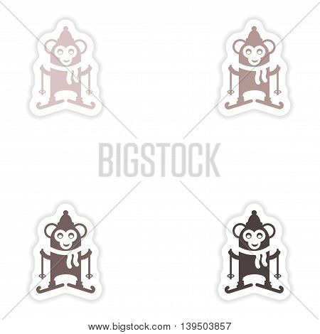 Set of paper stickers on white background  Monkey skiing