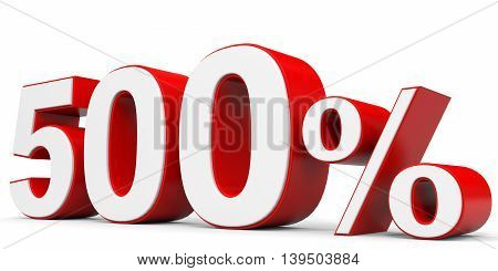 Discount 500 percent on white background. 3D illustration.