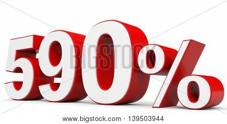 Discount 590 percent on white background. 3D illustration.