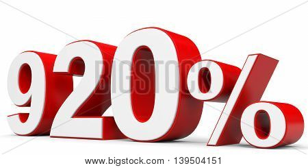 Discount 920 percent off on white background. 3D illustration.