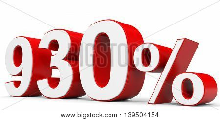 Discount 930 percent off on white background. 3D illustration.
