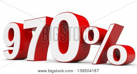 Discount 970 percent off on white background. 3D illustration.