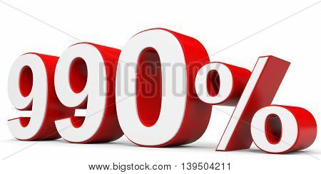 Discount 990 percent off on white background. 3D illustration.