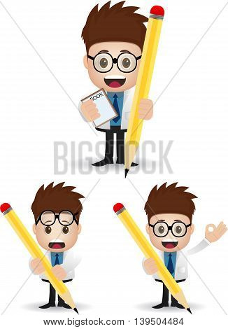 cartoon male character holding pencil and book with glass eye