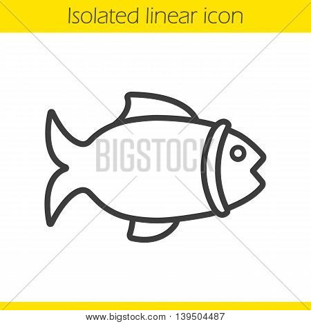 Fish linear icon. Grocery store seafood sign thin line illustration. Fishing shop contour symbol. Vector isolated outline drawing